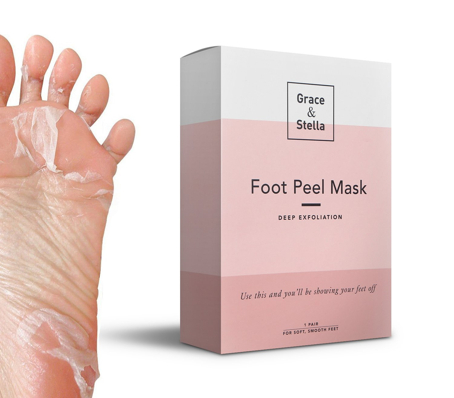 Exfoliating Foot Mask Odor Eliminator Exfoliating Socks & Callus Dead Skin Cells Remover At Home Spa Grace & Stella Co.