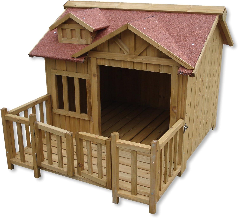 WilTec Caseta Perros XL Luxus Perrera Madera balcón terraza jardín Exterior Mascotas Extra Grande