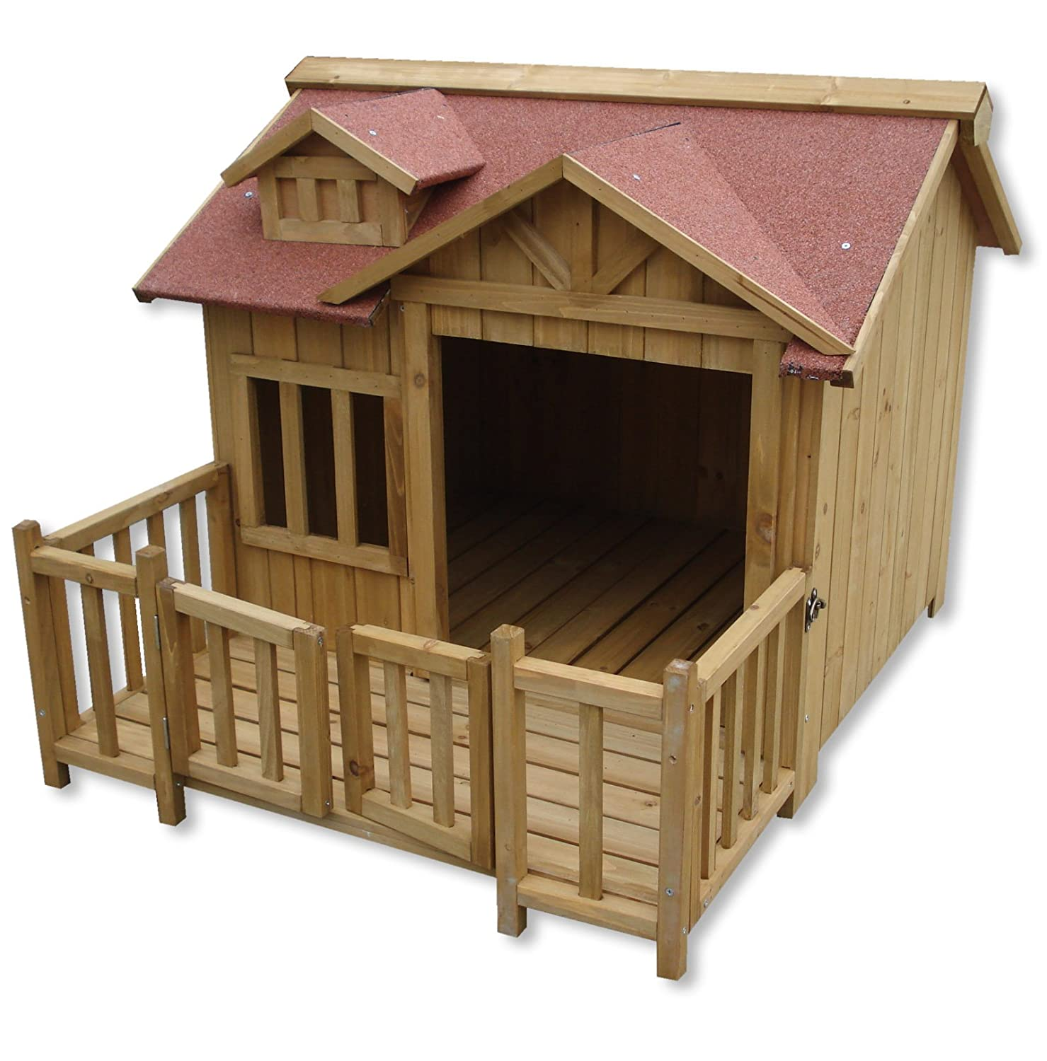 Luxury XL Dog Kennel Dog House Wood Balcony Garden Veranda Dog ...