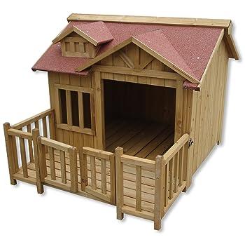 Wiltec Luxus Xl Hundehutte Hundehaus Holz Balkon Garten Terrasse