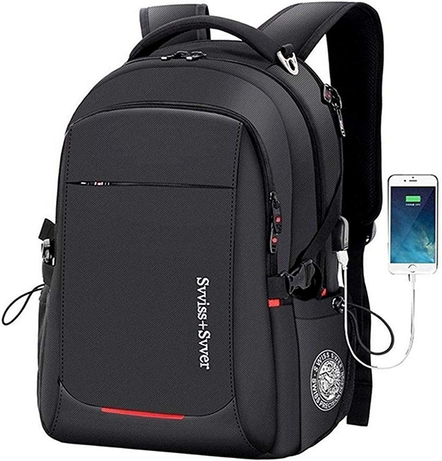 Business Laptop Backpack, Mens Travel Computer Bag 40L with USB Charging Port Fits for 15.6 Inch Notebook