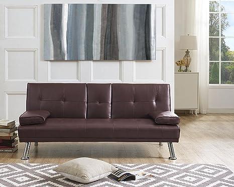 Amazon.com: Naomi Home Futon - Sofá cama con reposabrazos ...