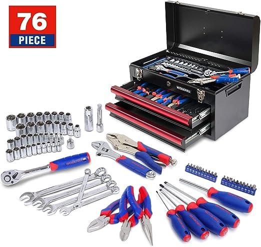 3 cajones, caja de metal resistente, 408 piezas Juego de herramientas mec/ánicas WORKPRO W009044A