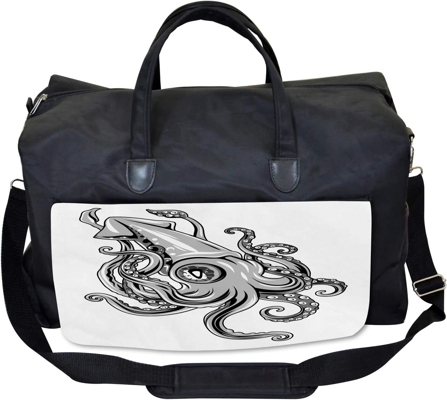 Large Weekender Carry-on Animal Cuttlefish Sea Ambesonne Kraken Gym Bag