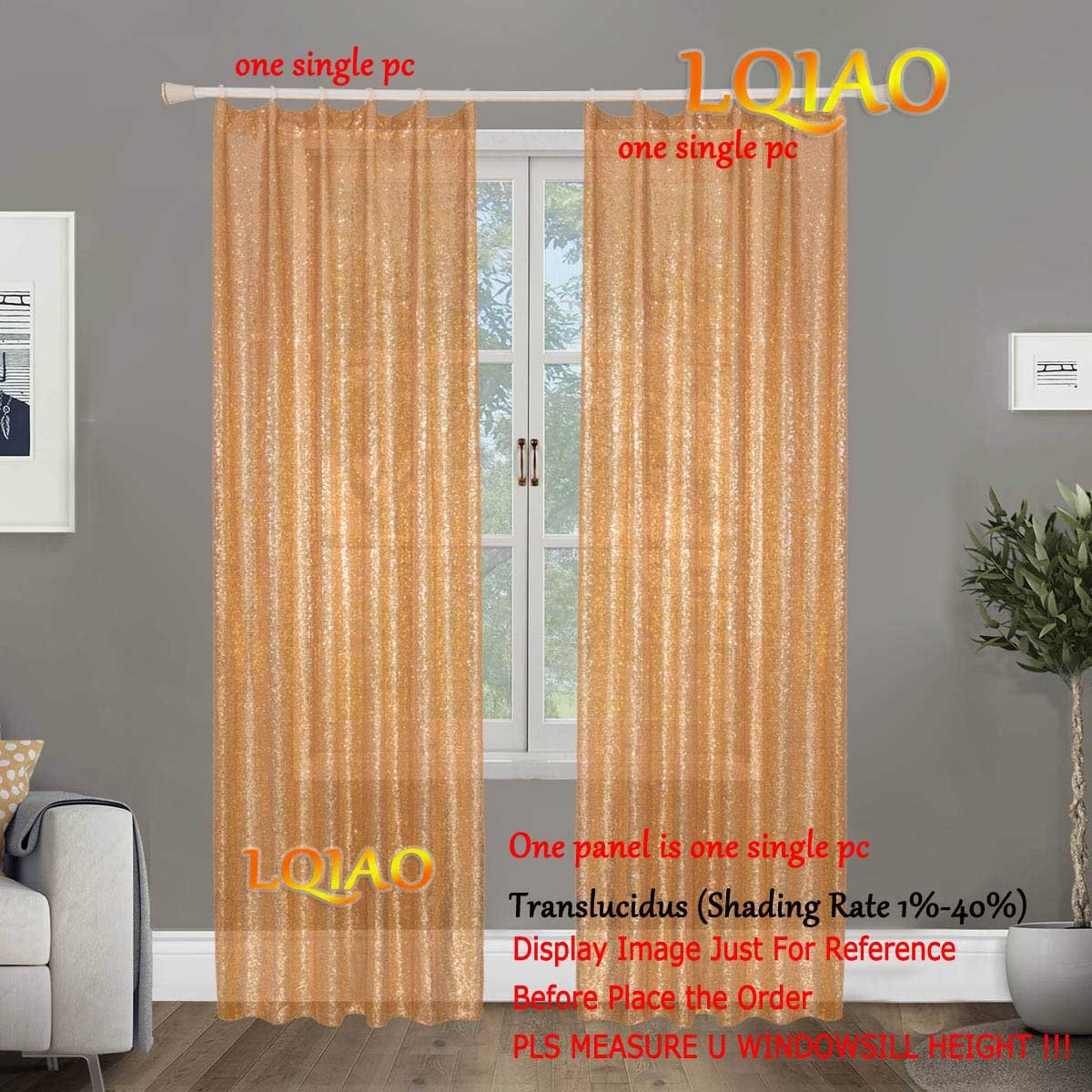 LQIAO 2018 New Sequin Rose Gold Curtains 50x63in Sparkly Rose Gold Fabric Photography Backdrop for Bedroom, Kitchen, Kids Room or Living Room,1 Panel Drapes 50-Inch-by-63-Inch Hooks Style Possible LQfashion Co. Ltd