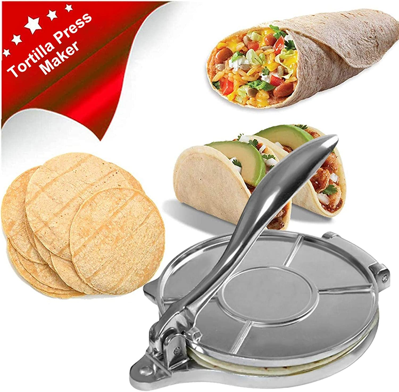 Pressform f/ür hausgemachte Tortillas oder Tacos antihaftbeschichtet Maispresse Tortilla-Pie Aluminium oshidede Tortilla-Presse Kuchen Fr/ühst/ück f/ür Mehl