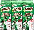 MILO UHT 50% Less Sugar Chocolate Malted Milk, 200ml, Pack of 6