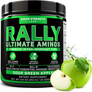 Sheer Rally BCAA Intra Workout Powder - 9 Branched Chain Essential Amino Acids for Boosted Energy Stamina & Muscle Recovery - Keto Friendly - No Artificial Sweeteners - Sour Green Apple - 25 Servings