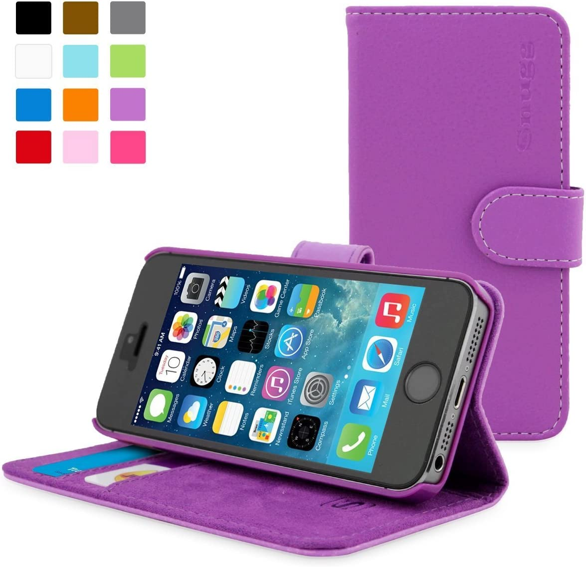 Snugg iPhone 5 / 5s Case, Purple Leather iPhone 5/5s Flip Case Premium Wallet Phone Cover with Card Slots for Apple iPhone 5 / 5s