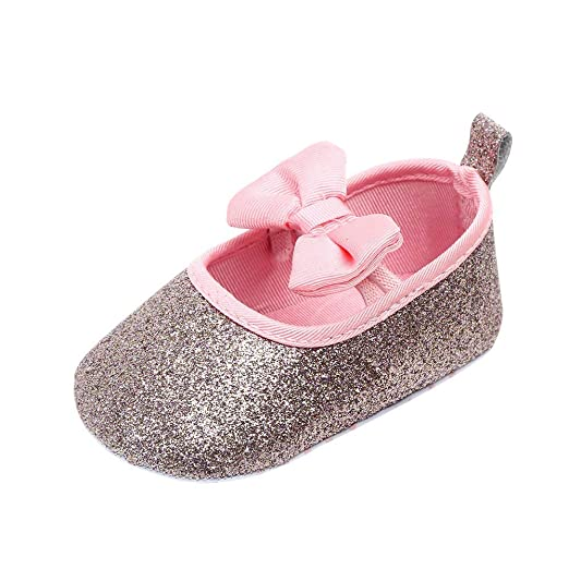 e78daafbcf5a4d Image Unavailable. Image not available for. Color  Kimanli Newborn Baby  Cute Girls Bowknot Bling Single First Walkers Soft Sole Shoes