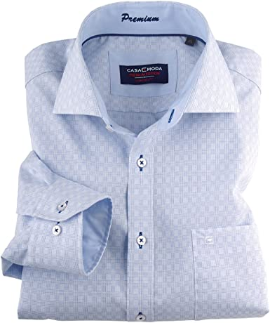 Casamoda Camisa Manga Larga Azul-Blanca en Tallas XXL, 45-57:44: Amazon.es: Ropa y accesorios