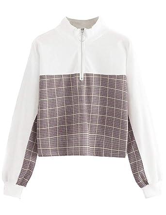 Sweat Court Femme, Sweatshirt Fille Ado Col Roulé Sport Pull à La Mode à  Damier Automne Sweat-Shirt Chic Manteau Pas Cher Veste Gilet Sweat Shirt  Tee Shirt ... 245c424ae24c
