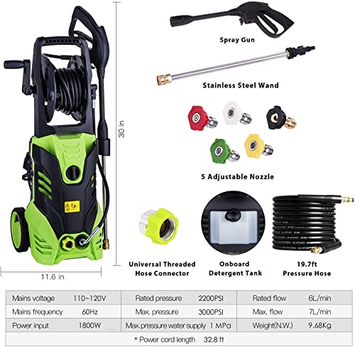 3000 PSI Pressure Washer 1.8GPM Power Washer Electric Pressure Washer Cleaner Machine with Hose Reel and 5 Nozzles