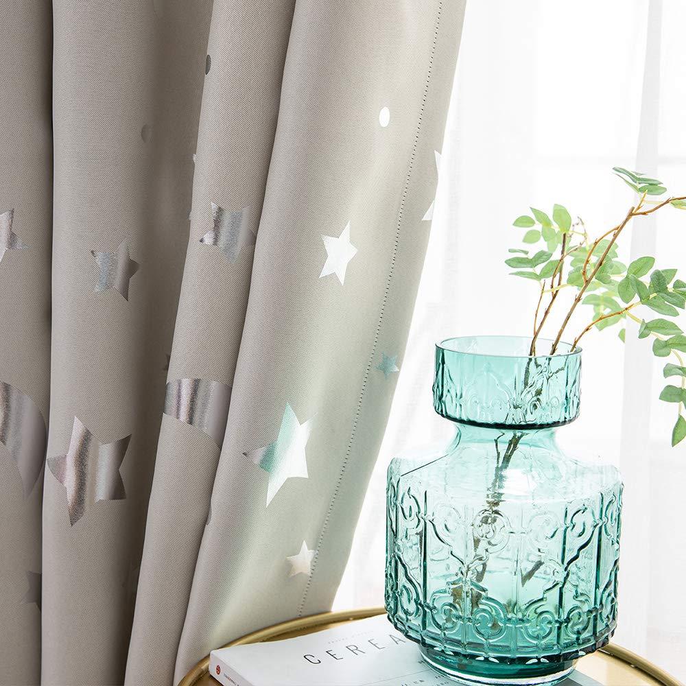100 x 178 cm, Blau Enjoygoeu Vorhang Blickdicht Sterne Verdunkelungsvorh/änge Kr/äuselband Gardinen f/ür Baby Kinderzimmer Thermo Isoliert 2er Set