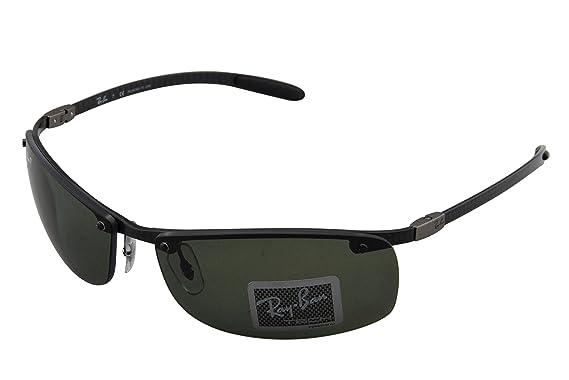 927368310abd8c Ray-Ban RB8305 Wrap Polarized Sunglasses, Black Carbon Fiber frame Green  classic lens