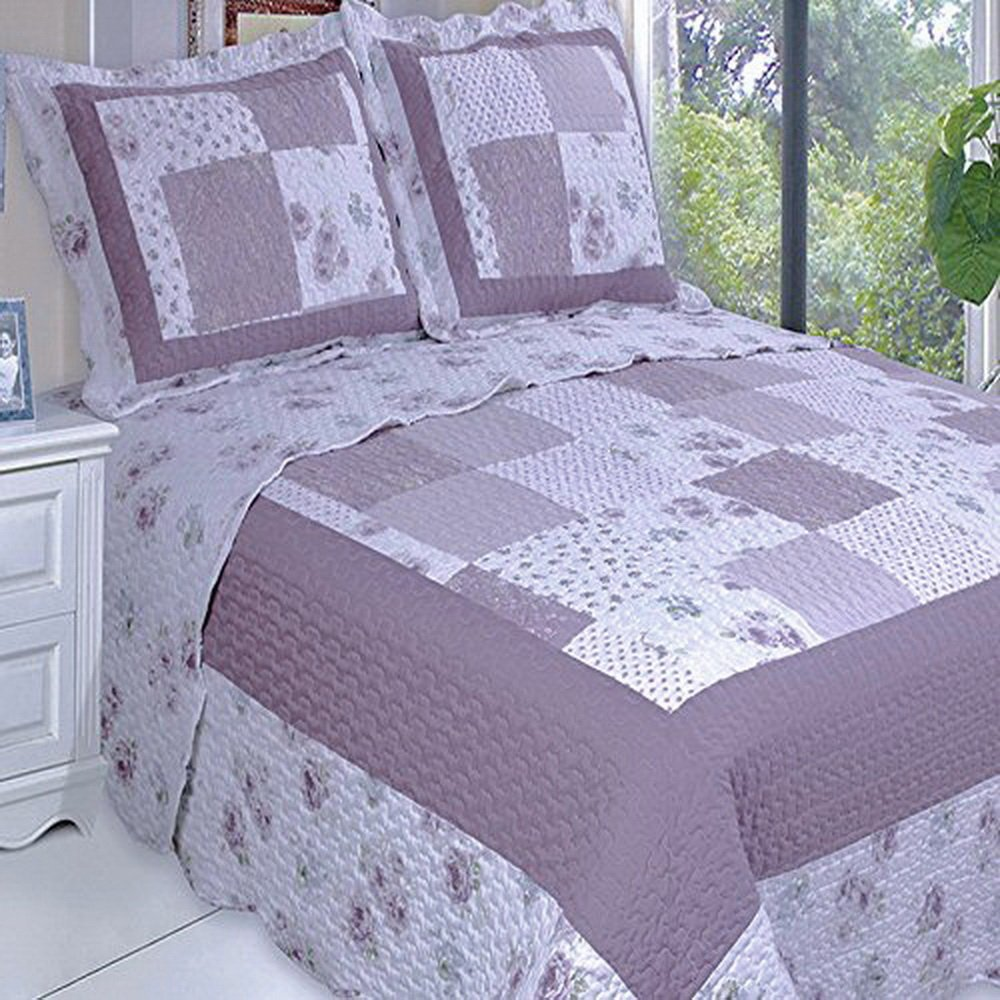 Quilt Coverlet Set Oversized King/Cal King Purple Lavender Flowers Floral Patchwork Pattern Cottage Chic Shabby Wrinkle Free Lightweight Reversible Hypoallergenic Bedding