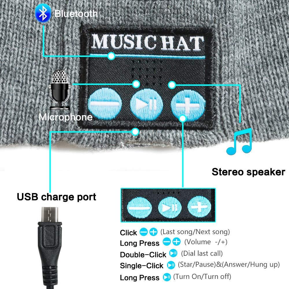 Red Ta Fashion Unisex Autumn Winter Bluetooth Wireless Warm Beanie Hat Handsfree Music Cap Headphone Headset xmas by Red Ta (Image #3)