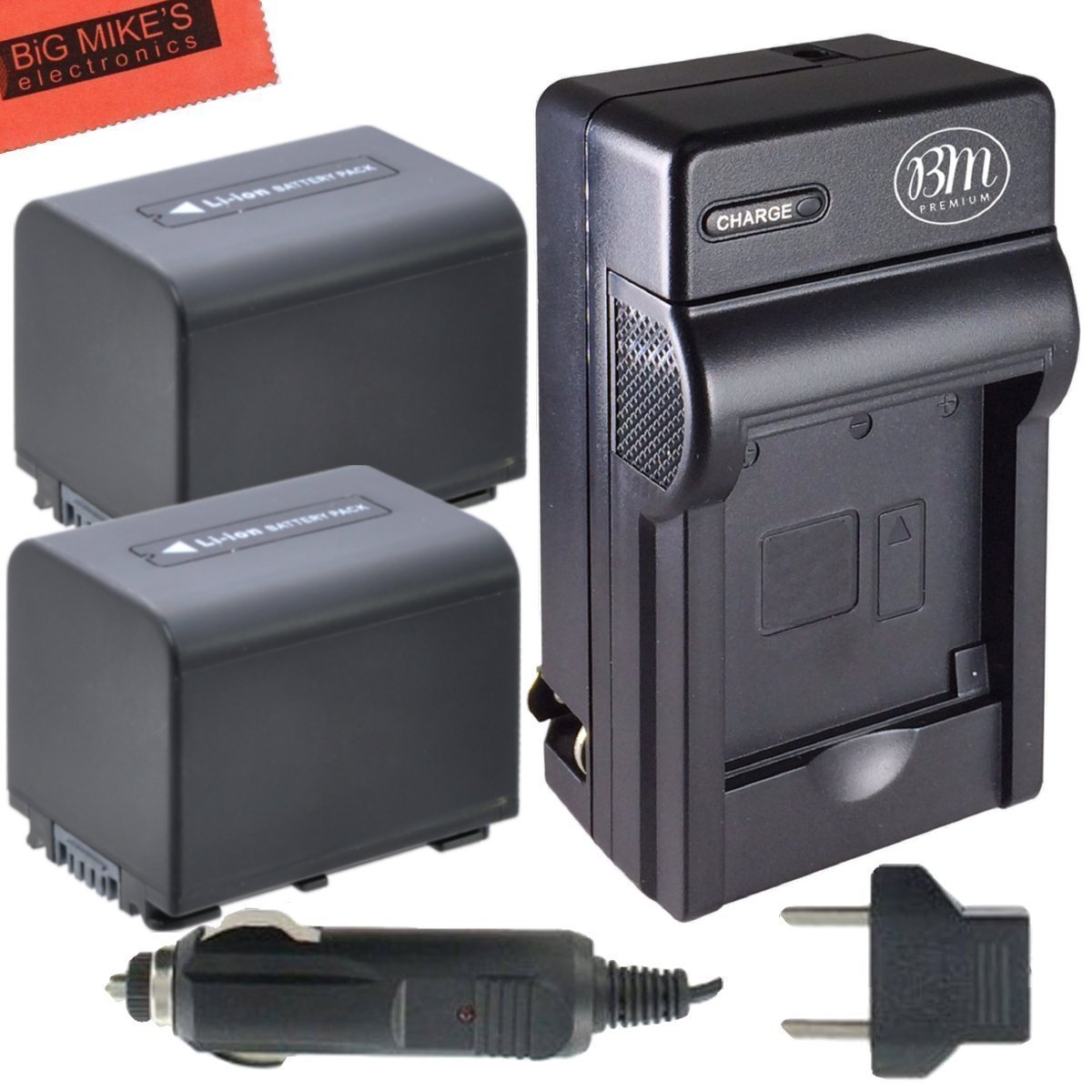 Pack of 2 NP-FV70 Batteries & Battery Charger Kit for Sony NEX-VG10 NEX-VG20 NEX-VG30 NEX-VG900 HXR-MC50U Handycam Camcorder + More!! Big Mike' s npfv70