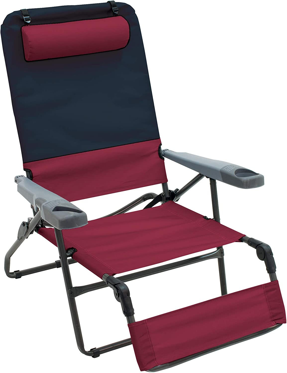 "Rio Brands Gear 4-Position Ottoman Lounge Extra Wide Camping Chair - Charcoal/Oxblood, 40.5"" x 30.25"" x 34.75"" (GR569-430-1)"