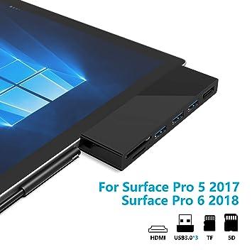 Rytaki Surface Pro 5/6 Concentrador USB de con 4K HDMI, 3 Puertos USB 3.0(5Gps), Lector de Tarjetas SD/Micro SD para Surface Pro 2017/2018【Versión ...