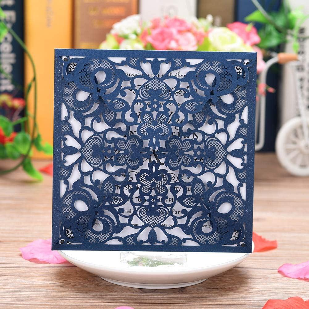 CYSKY Tarjeta de invitación con corte de encaje con láser 50PCS Kit de tarjeta de invitación de hueco cuadrado con papel imprimible en blanco y sobres para bodas, compromiso, cumpleaños (Azul)