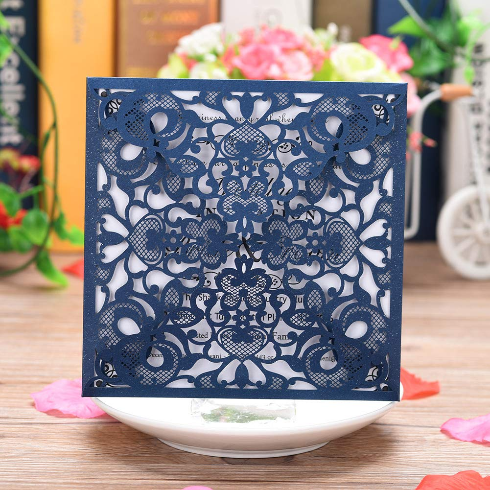 Cysky Laser Cut Lace Invitation Card 50pcs Square Hollow Invitation Card Kit With Blank Printable Paper And Envelopes For Wedding Engagement Birthday