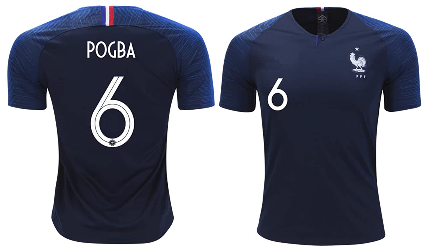 size 40 7ac99 4a596 France Pogba #6 Soccer Jersey Men's Adult Home World Cup Short Sleeve