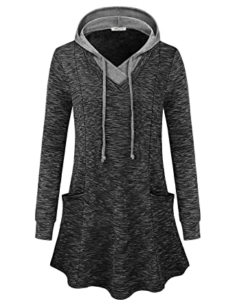 3852e60bb SeSe Code Women Long Sleeve V Neck Pullover Hooded Sweatshirt with Pockets