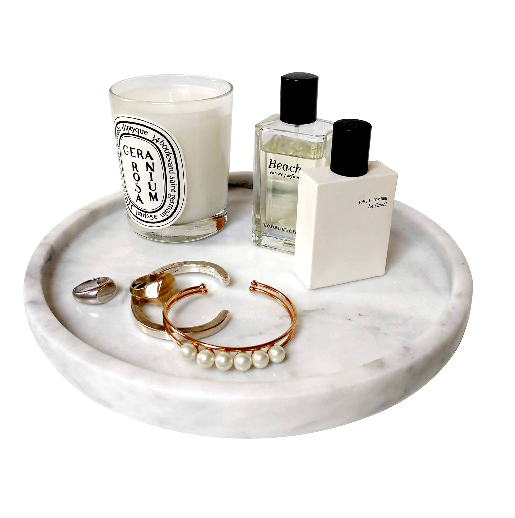 BEACH'D 10'' Genuine Marble Round Vanity Tray, Bathroom Tray, Jewelry Purfume Tray by BEACH'D