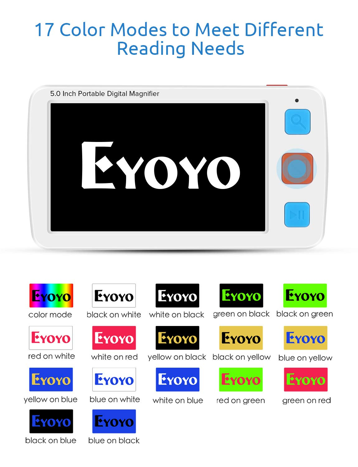 Eyoyo Portable Digital Magnifier Electronic Reading Aid 5.0 inch w/Foldable Handle for Low Vision Color Blindness 4X-32X Times Zoom 17 Color Modes 5 Levels for Brightness by Eyoyo (Image #5)