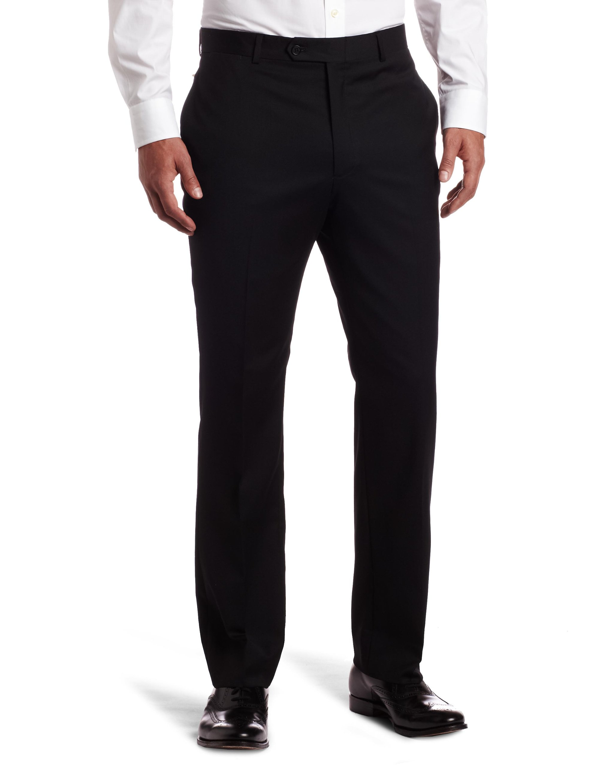 Tommy Hilfiger Mens Flat Front Trim Fit 100% Wool Suit Separate Pant, Black Solid, 32W x 30L by Tommy Hilfiger