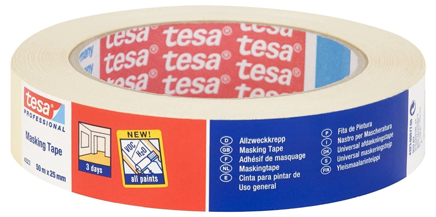 tesa 43230004100 3 Day Indoor Masking Tape with 3 Days Residue Free Removal, 50 m x 25 mm Tesa®