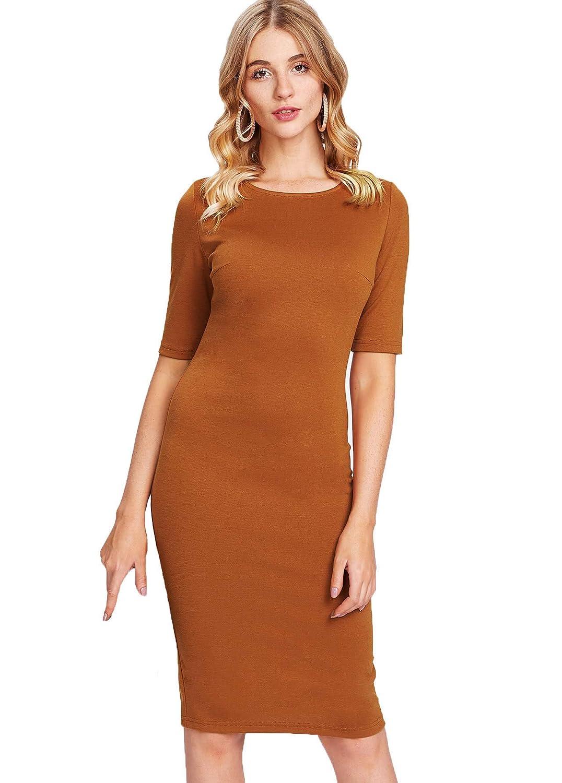 Brown SheIn Women's Short Sleeve Elegant Sheath Pencil Dress