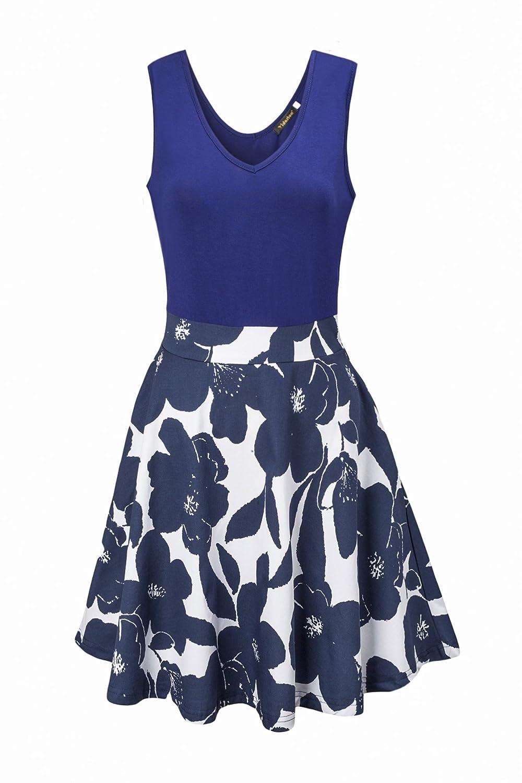 Ehpow Sommerkleid Damen V-Ausschnitt Ärmelloses Kleid Mini Floral Partykleid (X-Large, Navy)