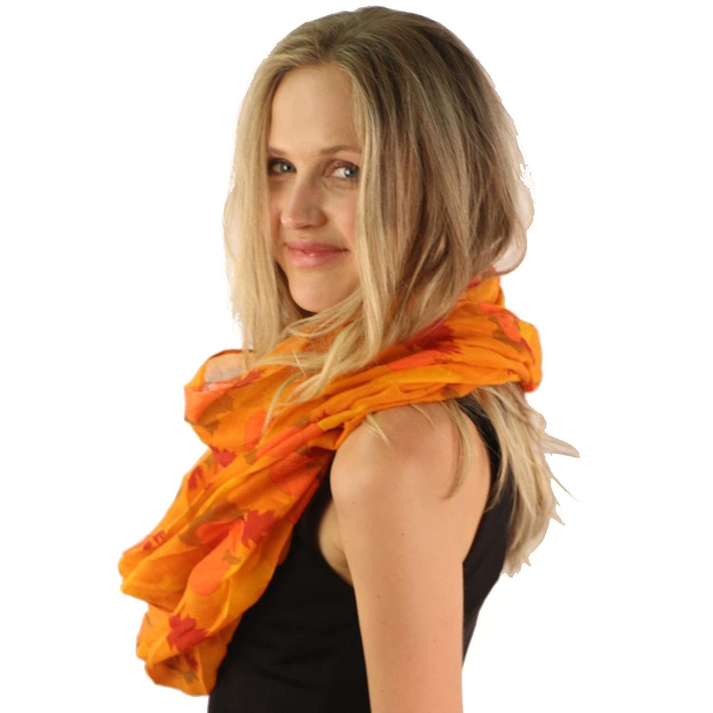 845c85696f8f4 Amazon.com: Cute Autumn Leaves Harvest Pumpkin Thanksgiving Wide Loop  Infinity Scarf Orange: Clothing