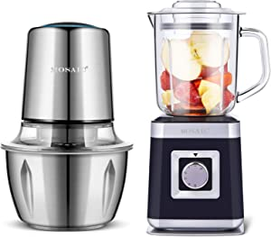 MOSAIC Electric Food Processor with Stainless Steel Bowl, Small Smothiess Blender Personal Blender Juice Maker