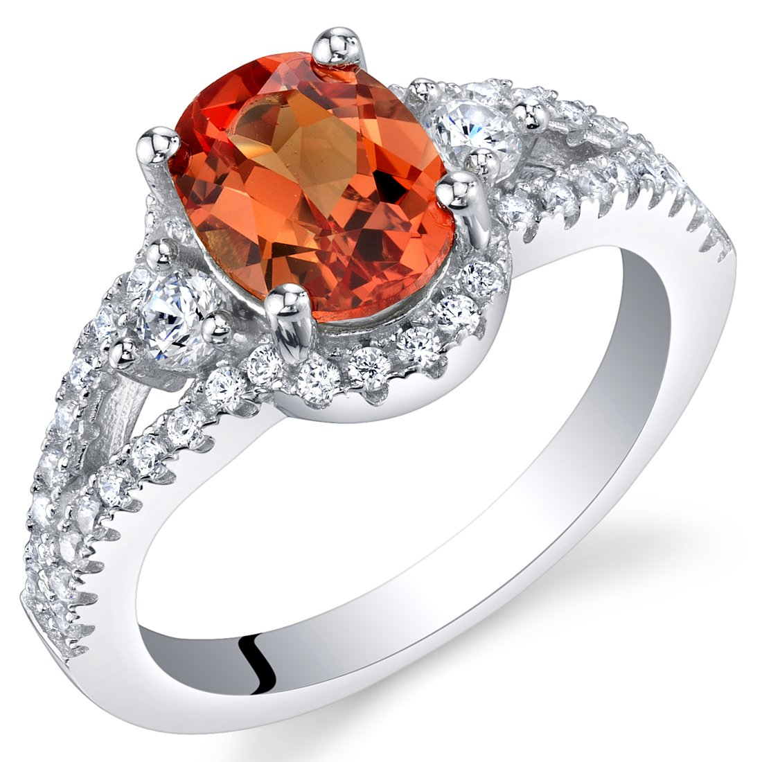 Created Padparadscha Sapphire Sterling Silver Keepsake Ring Size 6