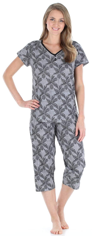 TALLA M (12-14). Sleepyheads Ropa de Dormir para Mujer Camisa con Cuello en V de Manga Corta y Conjunto de Pijama Capri