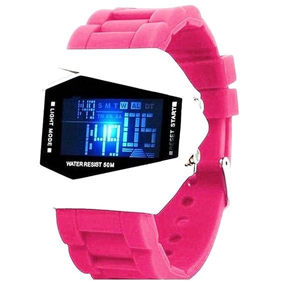 Reloj LED de Moda, Reloj Deportivo de Color frío avión, Reloj Digital (Rosa Rojo) FGVBHTR: Amazon.es: Relojes