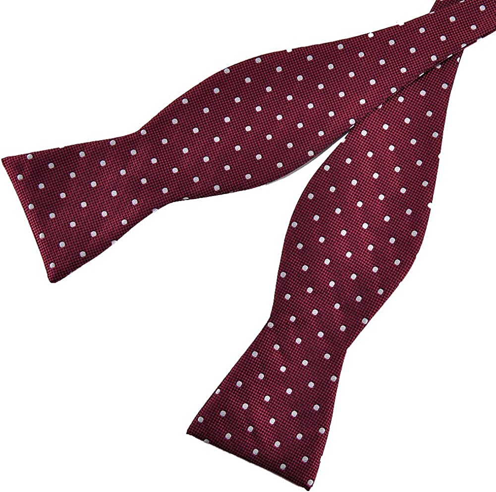 PenSee Mens Self Bow Tie Polka Dots Woven Silk Bow Ties-Various Colors