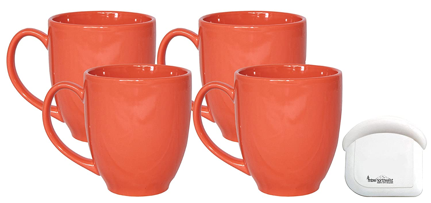 14 Ounce MBW NW Brands ITI Ceramic Bistro Coffee Mugs with Pan Scraper 6-Pack, Green