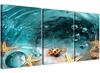Azul Estrella de mar playa Cuadros en lienzo 3 Panel para su cuarto ...