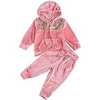 Geagodelia Conjunto deportivo de invierno para niña de 1 a 6 años de terciopelo con capucha y lentejuelas, estilo casual…