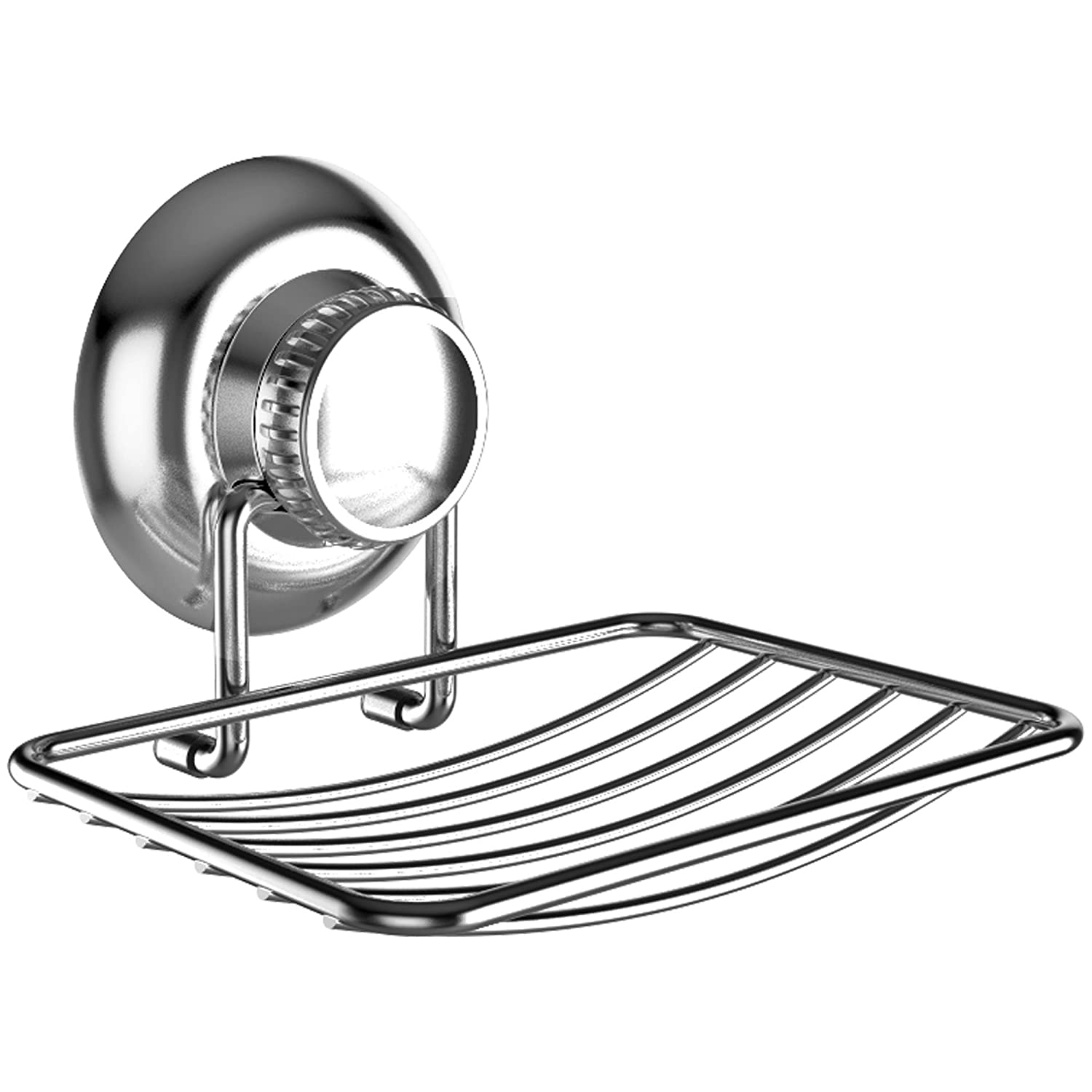 G-Loc Rustproof Silver Vacuum Suction Soap Dish Holder for Shower or Bath, Sponge Holder Sink Organizer - Easy Installation and No Drilling Stainless Steel Pinnacle Brands