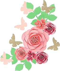 Fonder Mols 3D Paper Flowers Backdrop (Rose Pink, Set of 16), Baby Girl Nursery Paper Flower Wall Decor, Nursery Decor, Wedding Centerpiece