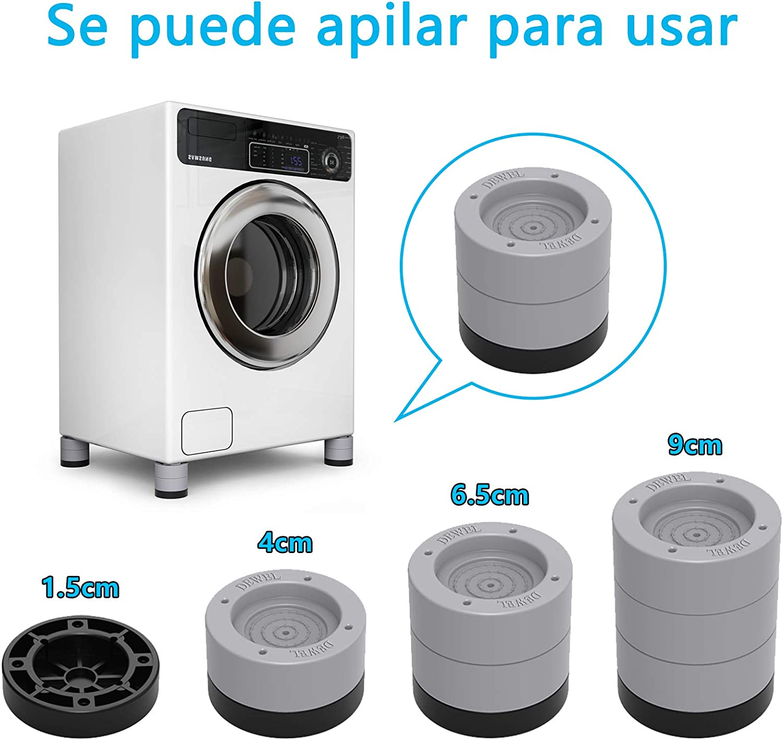 Seisso Patas de muebles para electrodom/ésticos 4pcs reducir ruido y vibraci/ón Pies para lavadora Nevera Elevador de muebles Altura ajustable Antideslizante
