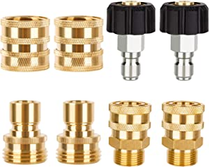 LEXRUSTI Pressure Washer Adapter Set, Quick Disconnect Kit, M22 Swivel to 3/8'' Quick Connect, 3/4