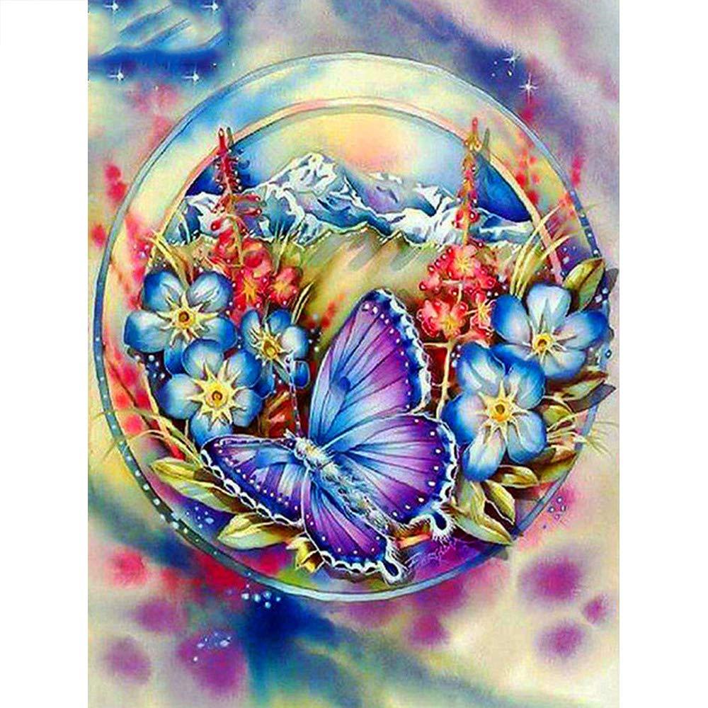 SiJXZSH Plein Carr/é Diamant Broderie Plein Affichage Animal 5D Diamant Peinture Point De Croix Papillon Et Fleur D/écor Maison Cadeau,SquareDrill 80X100cm