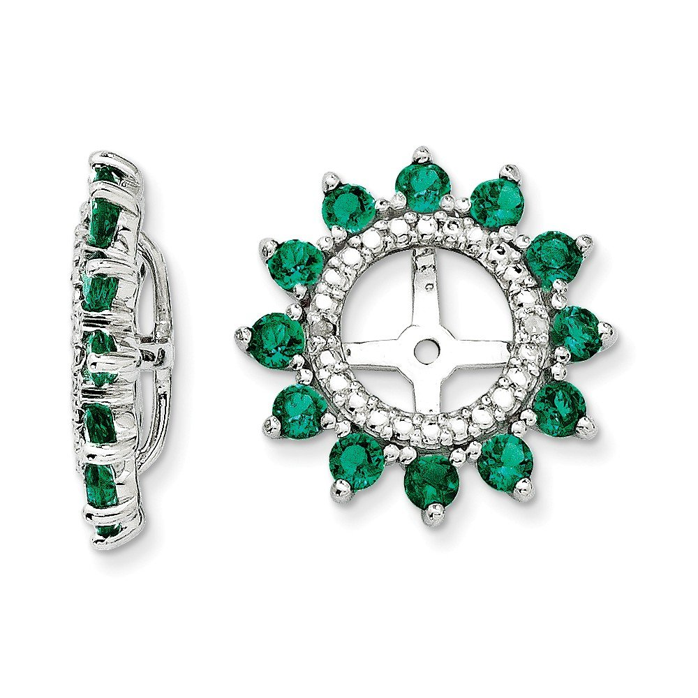 Sterling Silver Rhodium Diamond & Created Emerald Earring Jacket