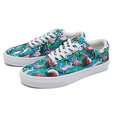 1044148bb9d cozyshoeson Unisex Tropical Plant Flamingo Lover Canvas Shoes Sneakers (7.5  D(M) US